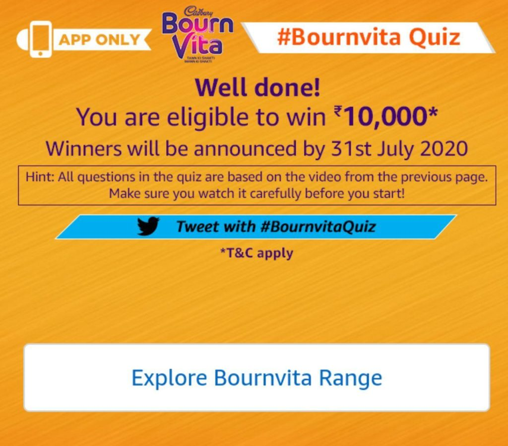 amazon bornvita quiz answers