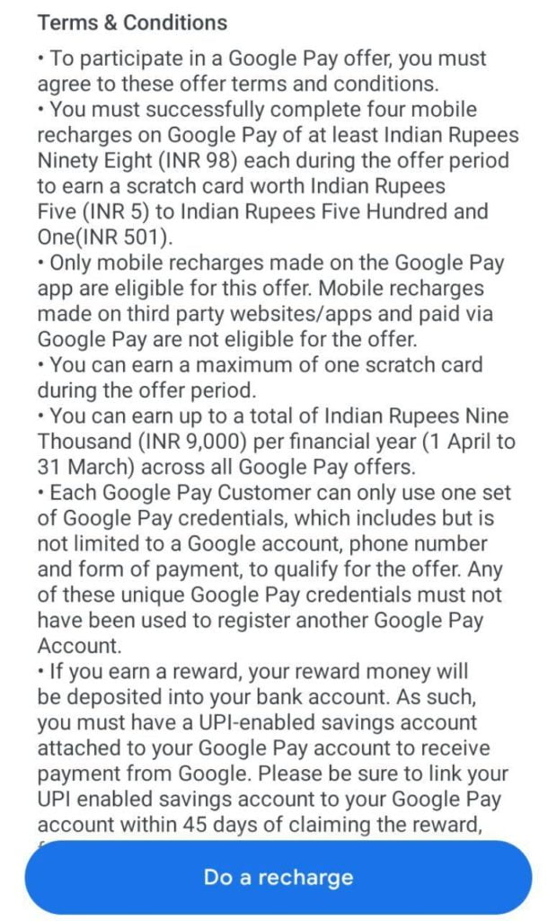 Google pay tez offer
