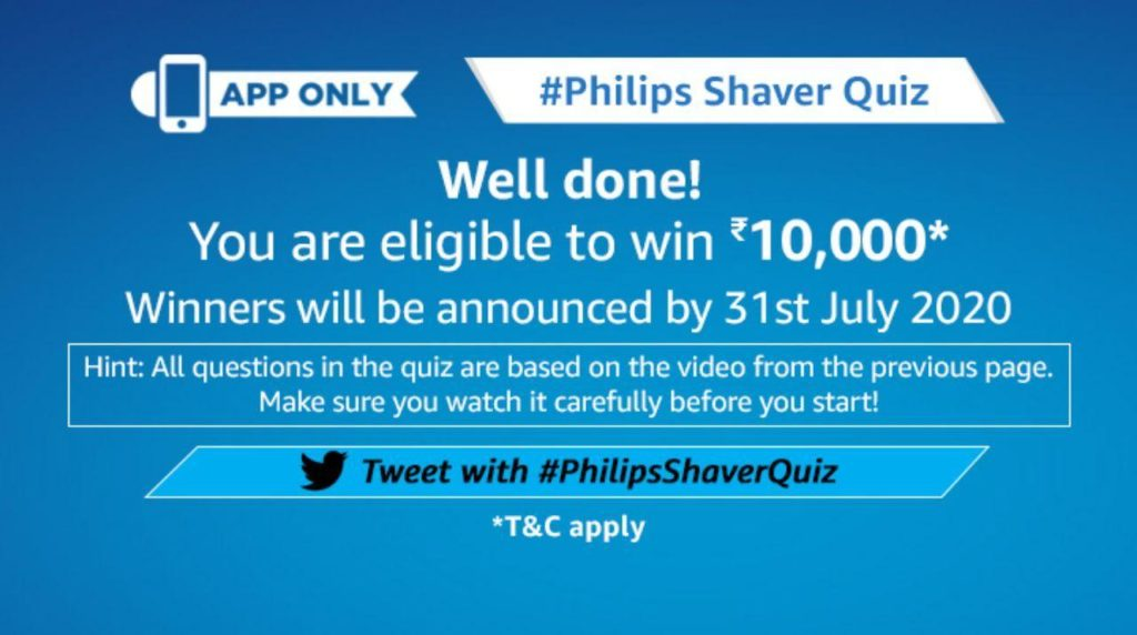 Amazon Philips Shaver Quiz