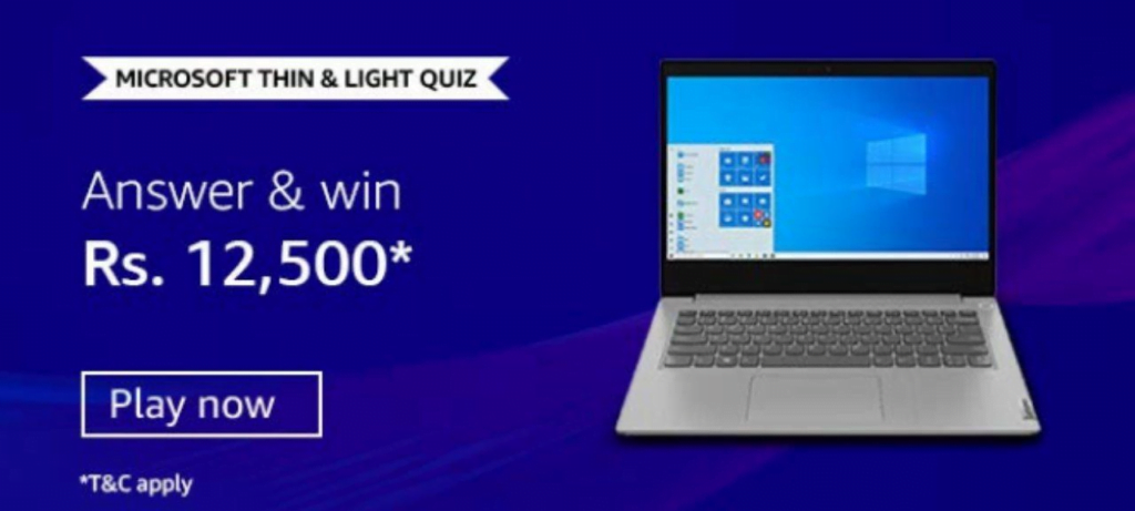 Amazon Microsoft Thin and Light Quiz Answers