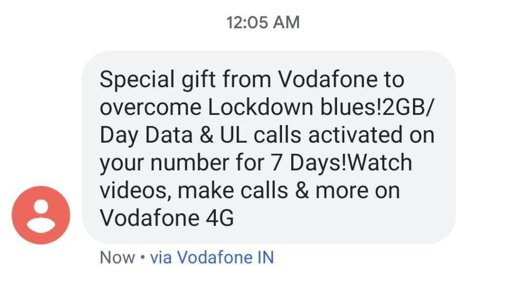 Vodafone Free Data Number