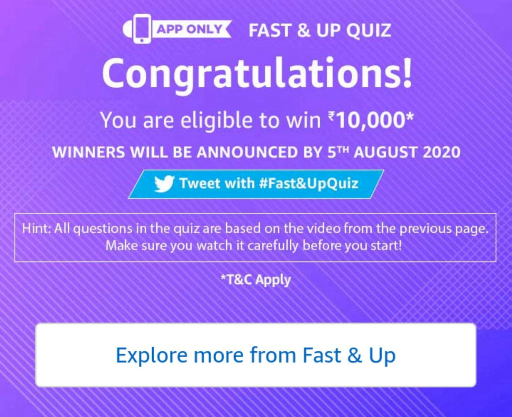 Amazon Fast and Up Quiz Answers
