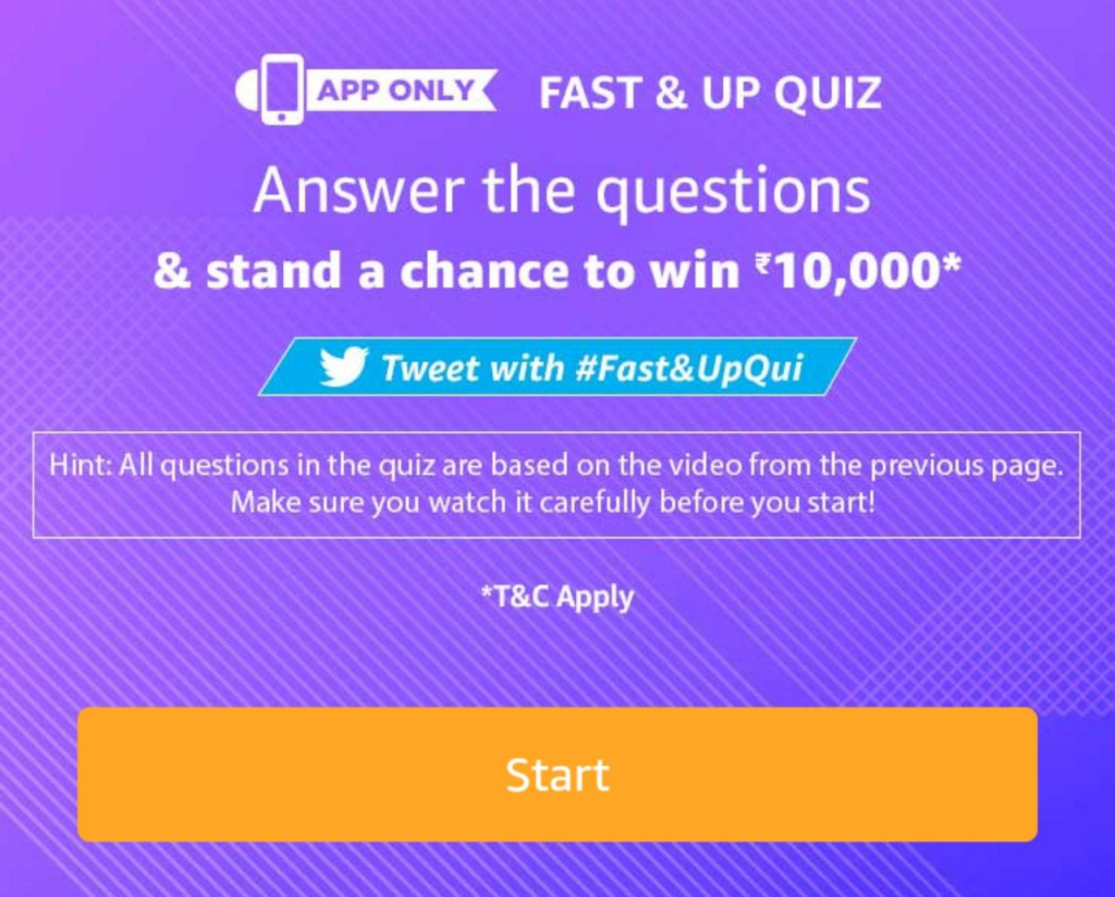 Amazon Fast&Up Quiz Answers