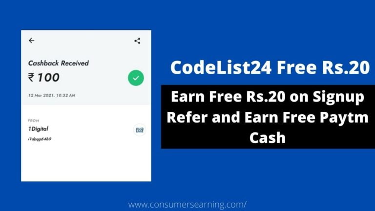 CodeList24 Refer and Earn Free Paytm Cash
