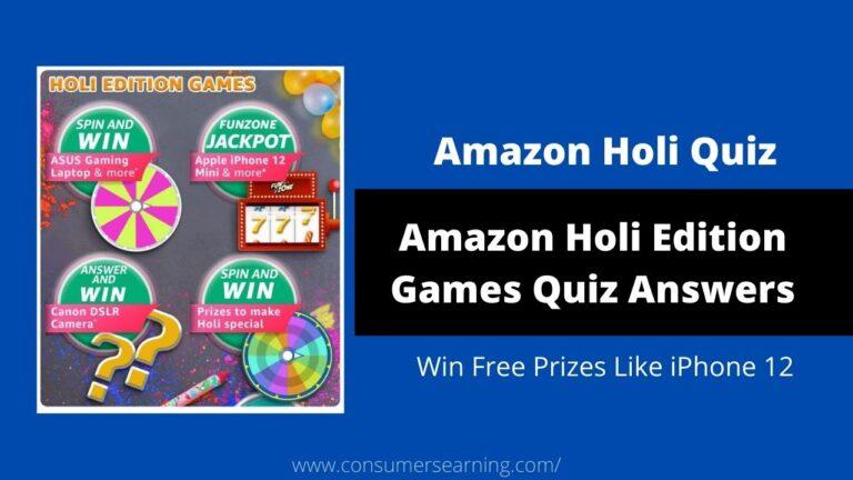 Amazon Holi Edition Games Quiz Answers