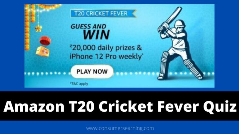 Amazon T20 Cricket Fever Quiz Answers Today