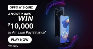 Amazon Oppo A16 Quiz Answers Today